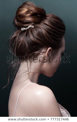 Ver de volta retrato mulher vestir isolado branco Foto stock © deandrobot