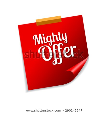 mighty offer red sticky notes vector icon design stock photo © rizwanali3d