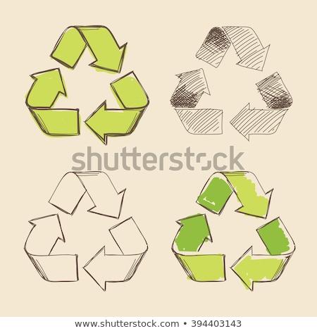 vetor · cartão · reciclar · desperdiçar · ícone · colorido - foto stock © netkov1