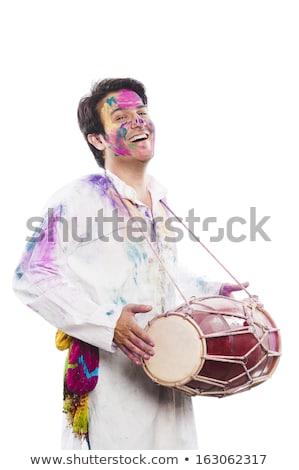 ストックフォト: 男 · 祝う · 演奏 · 音楽 · 塗料 · 楽しい