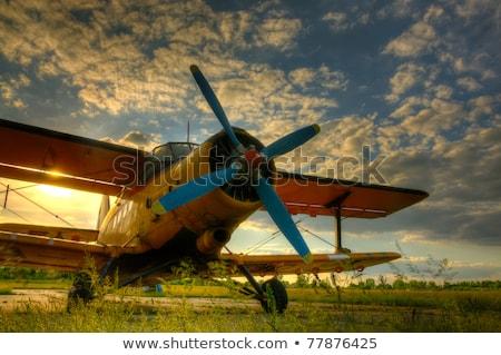 eski · uçak · kokpit · rus · arka · plan · mavi - stok fotoğraf © m_pavlov