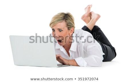 Kadın müdür zemin dizüstü bilgisayar gülümseme Stok fotoğraf © Flareimage