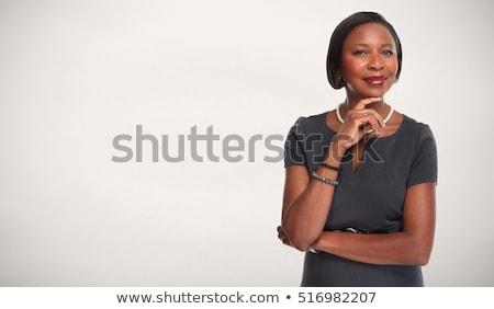 Сток-фото: красивая · женщина · серый · платье · элегантный