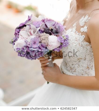 Stockfoto: Paars · korset · mooie · brunette · vrouw · sexy