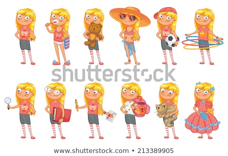 beach little girl colorful ball playing in vacation stock photo © lunamarina
