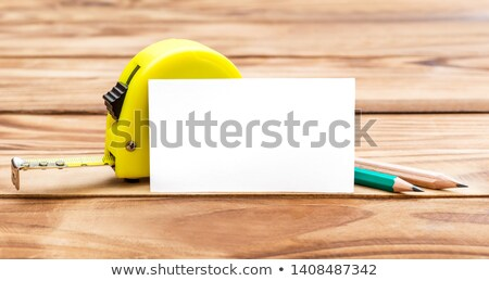 ブランクカード 木製のテーブル 紙 カード 白 ツール ストックフォト © cherezoff