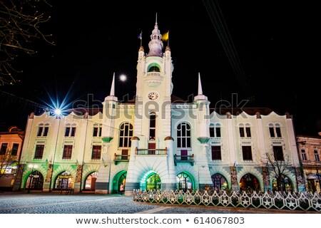 Este kilátás városháza éjszaka panoráma központ Stock fotó © artfotoss