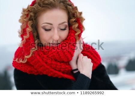 Csábító gyengéd gyönyörű piros ajkak fiatal fürtös Stock fotó © deandrobot