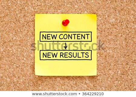 nieuwe · resultaten · sticky · note · geschreven · Geel - stockfoto © ivelin
