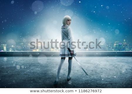 Mulher espada cosplay fantasia ficção menina Foto stock © godfer