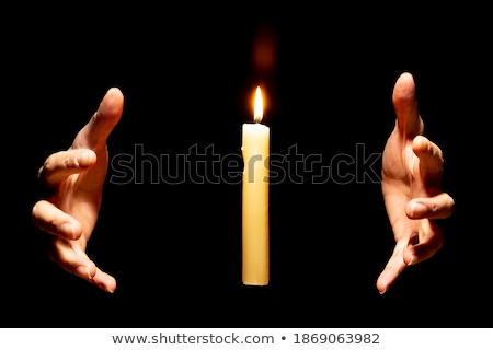 Bougie mains flamme ombre feu Photo stock © italianestro