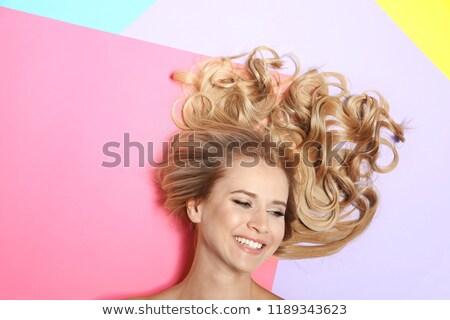 Felső kilátás káprázatos nő gyönyörű fürtös Stock fotó © deandrobot