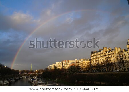 Paris vue sur la rue Rainbow ciel pluie romantique Photo stock © dariazu