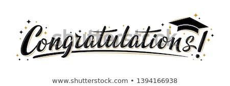 Félicitations graduation illustration animaux diplômé parchemin Photo stock © adrenalina
