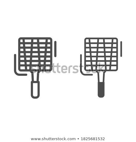 empty barbecue grill grate line icon stock photo © rastudio