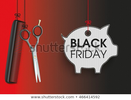 Hanging Scissors Comb Purple Piggy Bank Stock photo © limbi007