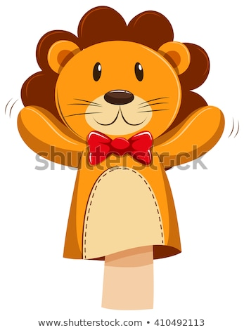 Lion hand puppet with red bow Stock photo © bluering