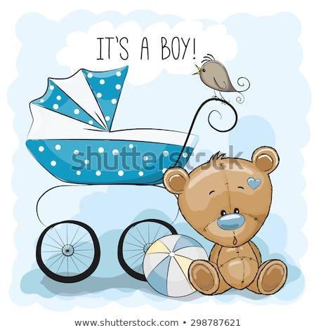 Stok fotoğraf: Bebek · erkek · duş · kart · oyuncak · ayı · vektör