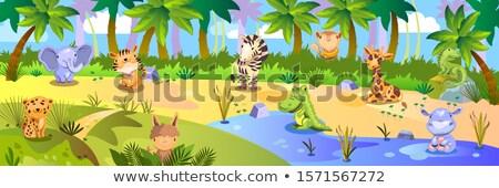 cute lama cartoon in the jungle with landscape background Stock photo © jawa123