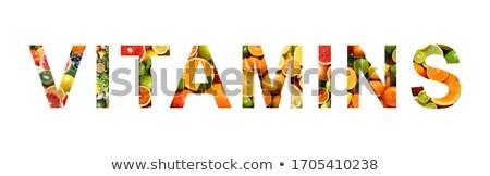 saudável · alfabeto · carta · legumes · frescos · frutas · isolado - foto stock © oakozhan