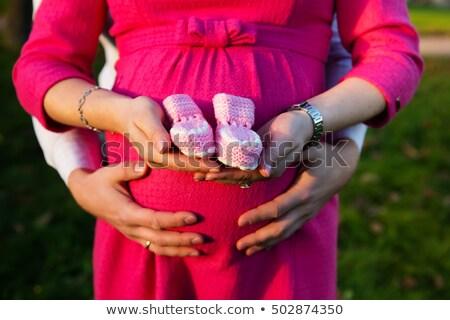 Hamile kadın açık pembe eller Stok fotoğraf © kb-photodesign