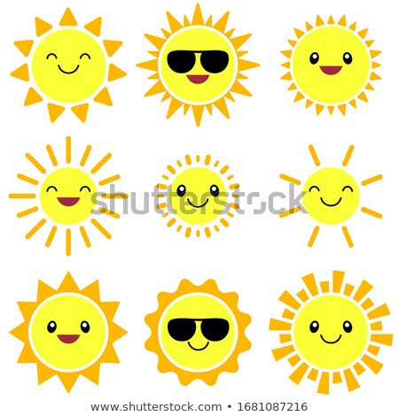 Blij gezicht zon illustratie glimlach gelukkig achtergrond Stockfoto © bluering