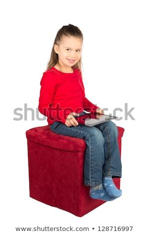 gyönyörű · orosz · lány · ül · szék · külső - stock fotó © AntonRomanov