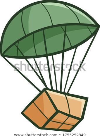 vicces · csomag · ejtőernyő · leszállás · vektor · rajz - stock fotó © pcanzo