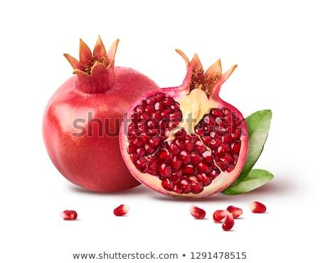 Foto stock: Romã · vermelho · maduro · fruto · isolado · branco