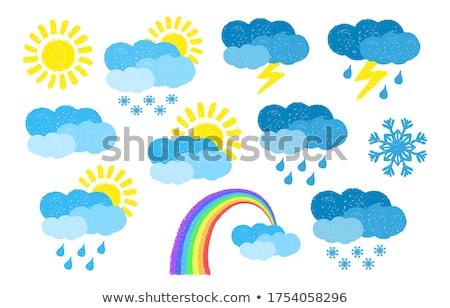 Kézzel rajzolt nap szett festett pasztell zsírkréták Stock fotó © pakete