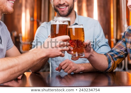 Men toasting with beer while sitting in pub together Stock photo © deandrobot