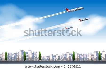 Három repülőgépek repülés égbolt illusztráció háttér Stock fotó © bluering