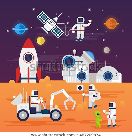 Vector flat style illustration of space station and astronaut in Stock photo © curiosity