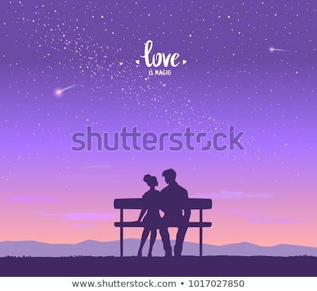 Stock photo: silhouette of couple on a sky background