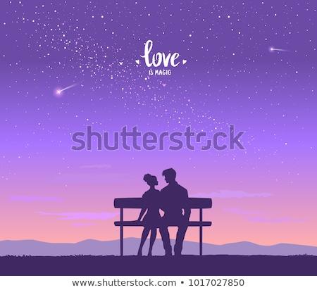 Foto stock: Silhueta · casal · céu · homens · mulheres · moda