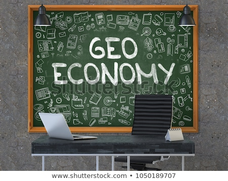 Globale economie kantoor schoolbord groene Stockfoto © tashatuvango