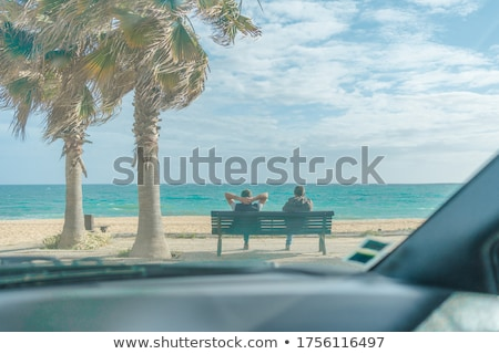 Woman sitting in front of palm trees in summer holidays Stock photo © Kzenon