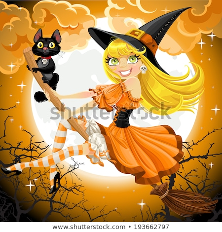 Desenho animado bruxa gato voador cabo de vassoura halloween Foto stock © Krisdog