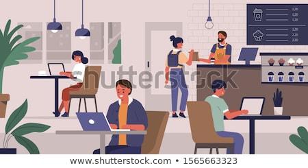 молодые друзей сидят напитки ноутбука кофейня Сток-фото © wavebreak_media