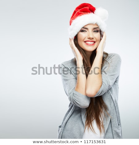 young pretty happy smiling brunette woman on christmas in santas Stock photo © iordani