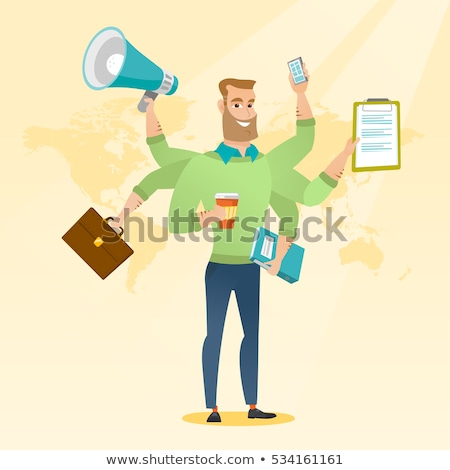 businessman coping with multitasking stock photo © rastudio