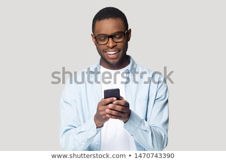 africano · homem · telefone · móvel · celular · moda - foto stock © deandrobot