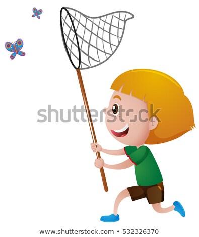 Fiú pillangó net gyermek sétál fiatal Stock fotó © IS2