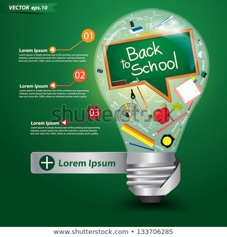 Online oktatás kézzel rajzolt zöld tábla firka ikonok Stock fotó © tashatuvango