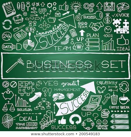 advertising   doodle illustration on green chalkboard stock photo © tashatuvango