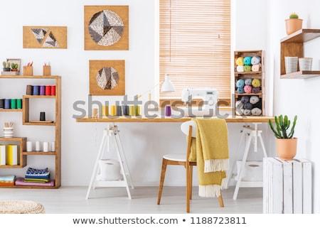 Szycia pokój ilustracja pełny materiały tabeli Zdjęcia stock © lenm