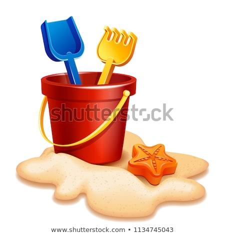 plaj · maça · kova · turuncu · plastik · mavi - stok fotoğraf © 5xinc