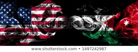 Voetbal vlammen vlag Jordanië zwarte 3d illustration Stockfoto © MikhailMishchenko