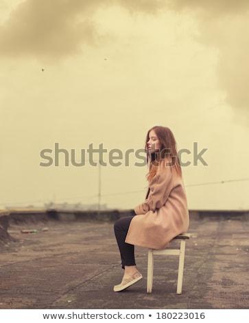 Szomorú gyönyörű fiatal nő zsámoly fehér nő Stock fotó © feedough