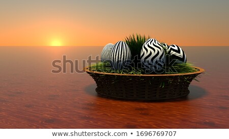 Set of high Resolution 3d rendered Easter eggs Stock photo © sommersby